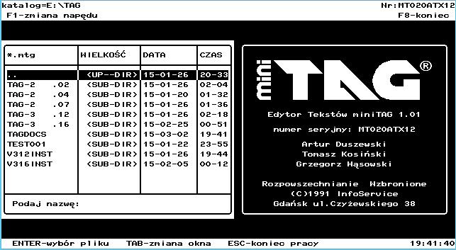 TAG – polski edytor tekstu dla DOS