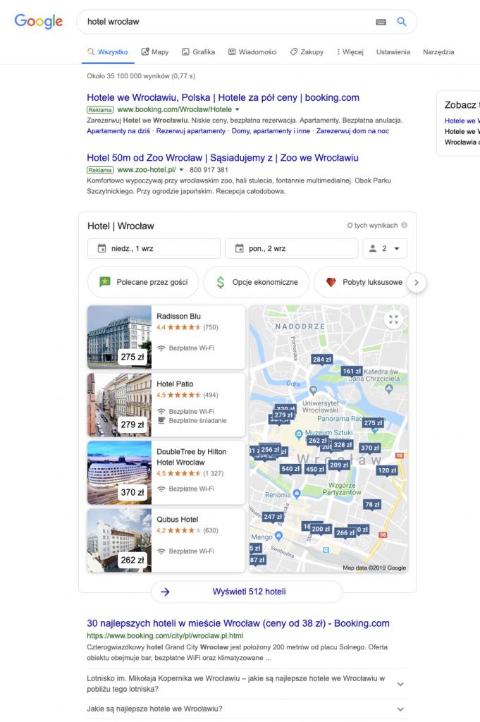 """Wyniki wyszukiwania frazy """"hotel Wrocław"""" w Google"""