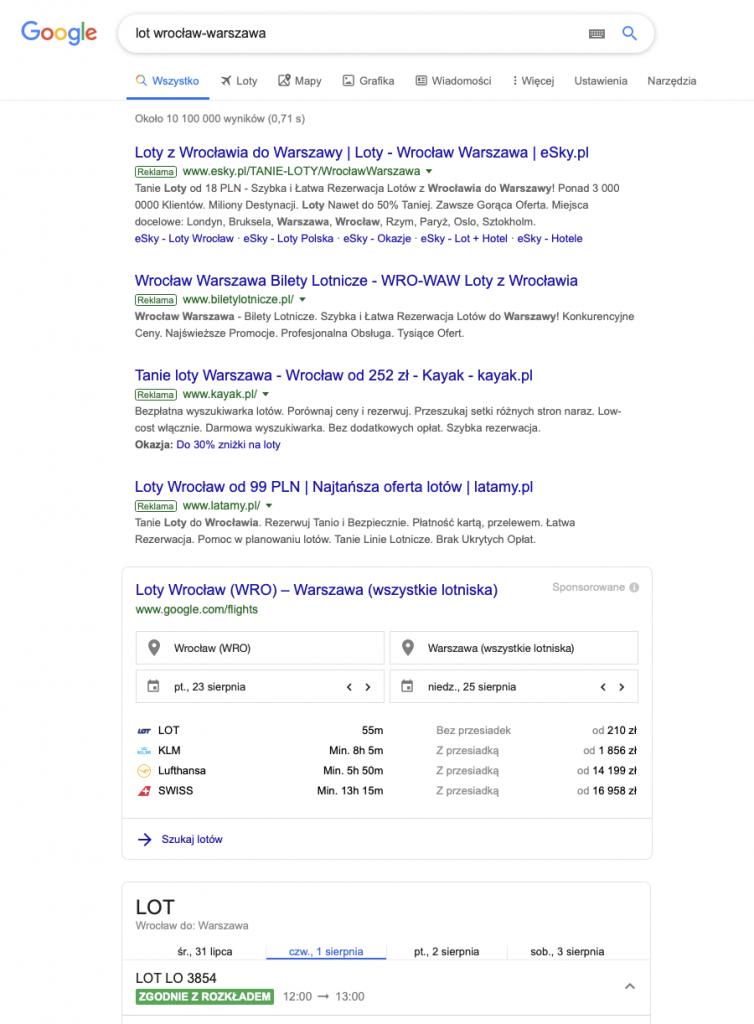 """Wyniki wyszukiwania """"lot wrocław-warszawa"""""""