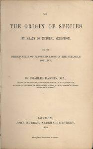 """Strona tytułowa pierwszego wydania """"On The Origin of Species"""" Darwina"""